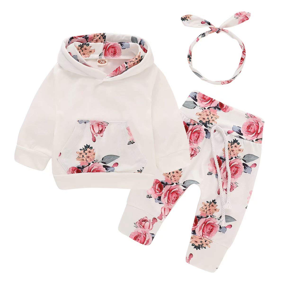 CETEPY Baby Girl Clothes Outfits Newborn Infant Long Sleeve Hoodie + Pants + Headbands Size 0-24 Months