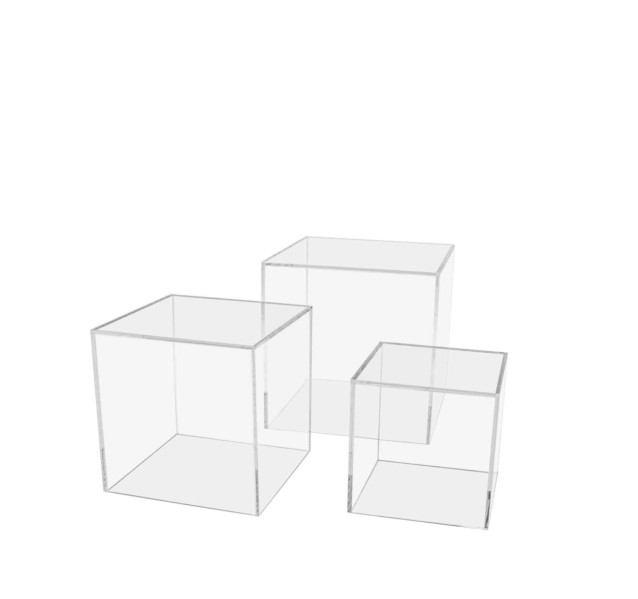 """Marketing Holders 4"""" 5"""" & 6"""" Acrylic Performance Storage Bin Set of 3 Display Art Pack of 5 Sculpture Pedestal Collectible Cube Cover Trophy Trinket Showcase Stand Expo Wedding Reception"""