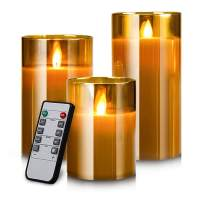 """YINUO MIRROR LED Flameless Candles, Battery Operated Flickering Candles Pillar Real Wax Moving Flame Electric Candle Sets Gold Glass Effect with Remote Timer, 4"""" 5"""" 6"""" Pack of 3"""