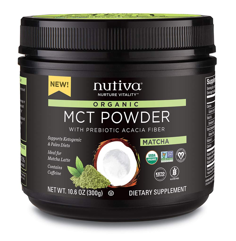 Nutiva Organic MCT Powder, Matcha, 10.6 Ounce