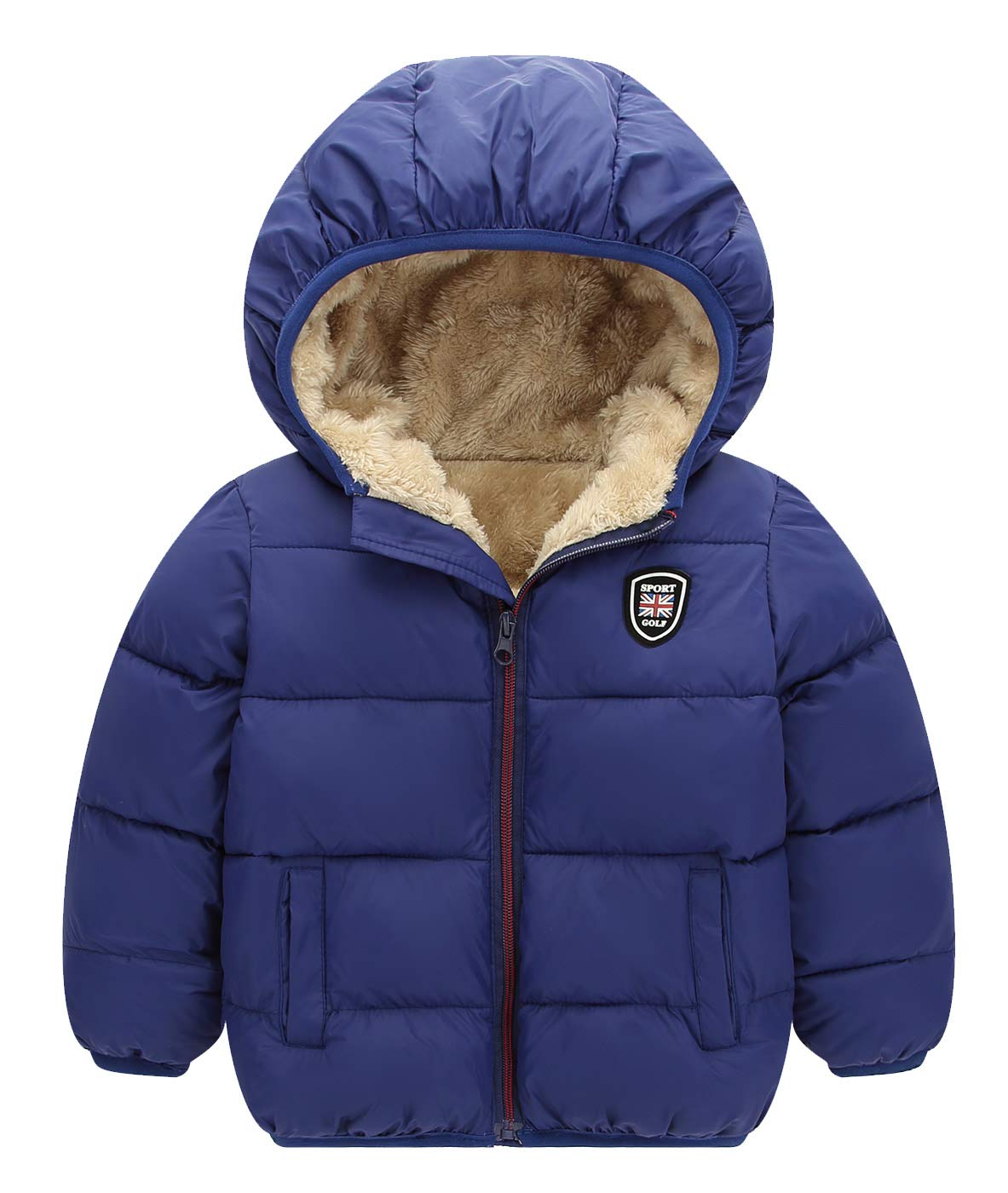 Happy Cherry Baby Hooded Fleece Lined Coat Winter Warm Puffer Down Jacket Outerwear Quilted 3T-4T Blue