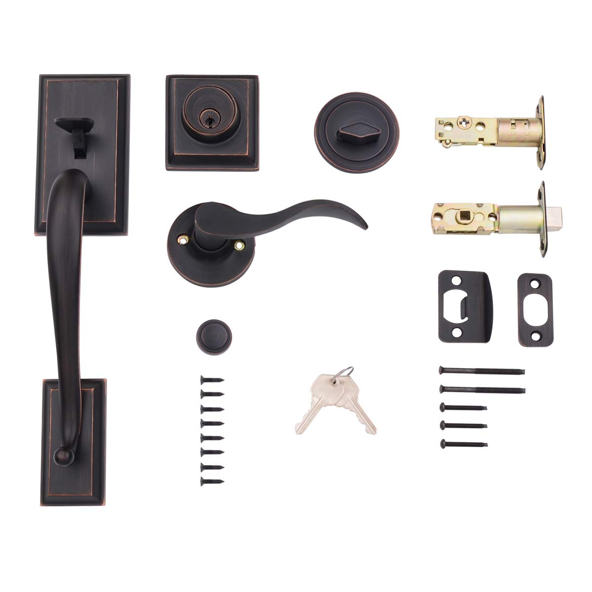 AmazonBasics Modern Exterior Door Handle with Left-Hand Wave Door Lever and Deadbolt Lock Set, Oil Rubbed Bronze