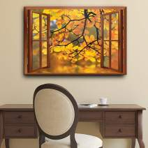 wall26 Modern Copper Window Looking Out Into a Yellow Tree Framing a Lake - Canvas Art Home Decor - 24x36 inches