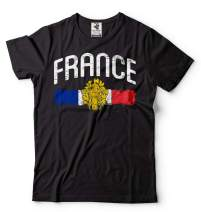France Tee shirt French Flag Coat of arms Mens shirt