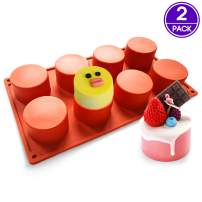 """PERNY Tall Cylinder Silicone Molds, 2.4"""" Diameter Round Cupcake Muffin Chocolate Covered Oreos Cookie Mold, 2 Pack"""