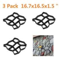 Yaheetech 3 PCS Recyclable Plastic Pathmate Walk Way Paver Concrete Stone Mould Paving Mold Black for Lawn/Garden/Patio Large Size 16.7 x 16.5 x 1.5 inch