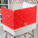 Really Good Stuff Large Privacy Shields for Student Desks – Set of 12 - Gloss - Study Carrel Reduces Distractions - Keep Eyes from Wandering During Tests, Red with School Supplies Pattern