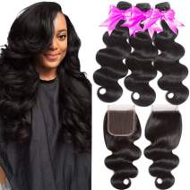 Flady Brazilian Body Wave Bundles with Closure 10A Unprocessed Brazilian Virgin Human Hair 3 Bundles with Free Part Closure Natural Black (18 20 22+14inches)