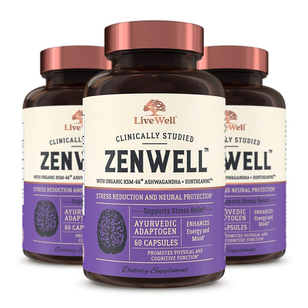 ZenWell - Organic Ashwagandha with KSM-66   Clinically Studied Stress Reduction and Neural Protection   180 Capsules - 90 Day Supply