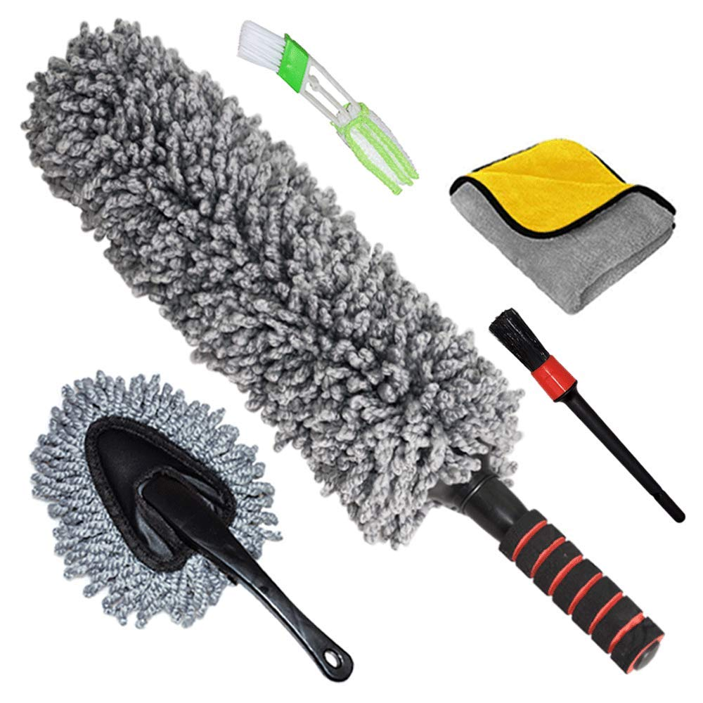 CarDuster Exterior Interior Brush, Set of 5, Best Extendable Ultimate Long Microfiber Multipurpose Duster/Cleaning Dashboard Duster/Car Detailing Brush/Lint Free Microfiber Cloths