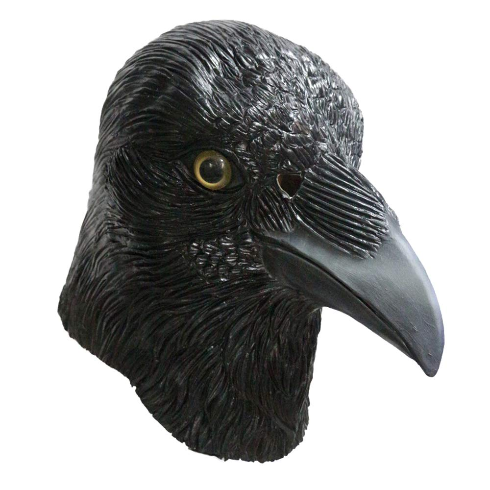 Party Funny Animal Latex Halloween Mask Birthday Party Cosplay Full Head … (Black Bird)