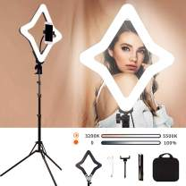 """GIJUANRING 15"""" LED Ring Light Selfie Beauty Light Star Lamp Dimmable Bi-Color Studio Video Photography Lighting Kit with Stand Tripod and Phone Holder for Makeup, Live Stream, Vlog YouTube Video"""