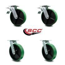 "5"" Green Polyurethane on Cast Iron Caster - 2 Swivel w/Total Lock Brakes & 2 Swivel - 1,000 lbs. Capacity/Caster - Service Caster Brand"