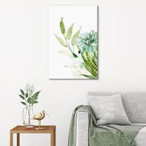"wall26 Canvas Wall Art Succulent Plants Series - Watercolor Style Plants on White Background - Giclee Print Gallery Wrap Modern Home Decor Ready to Hang - 32"" x 48"""
