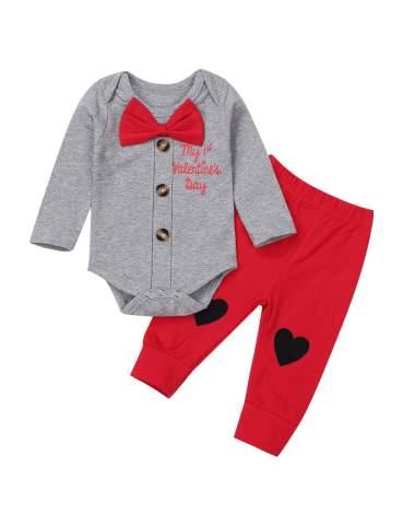 My 1st Valentine's Day Outfit Newborn Baby Boys Gentleman Bow Tie Romper Button Down Bodysuit+Pants 2PCs Clothes Set