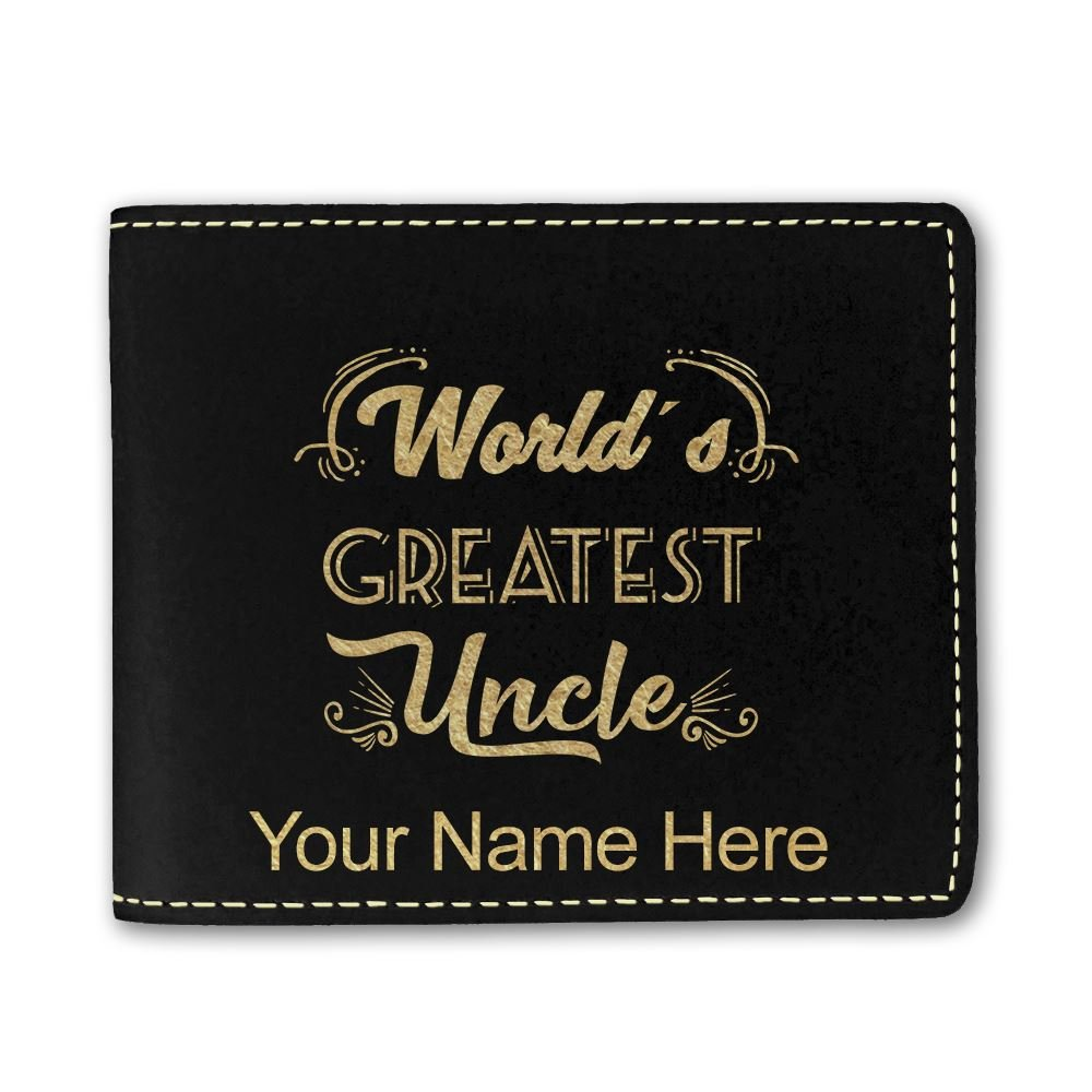LaserGram Bi-Fold Wallet, World's Greatest Uncle, Personalized Engraving Included