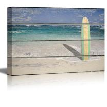 wall26 - Relaxing Beach Scene with a Surf Board Standing in The Sand on a Rustic Wood Background - Canvas Art Home Decor - 16x24 inches