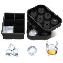 LUUFAN Reusable Ice Cube Trays Silicone, Sphere Round Ice Ball Maker and Large Square Ice Cube Mold for Chilling Bourbon Whiskey, Beverages (Set of 2)