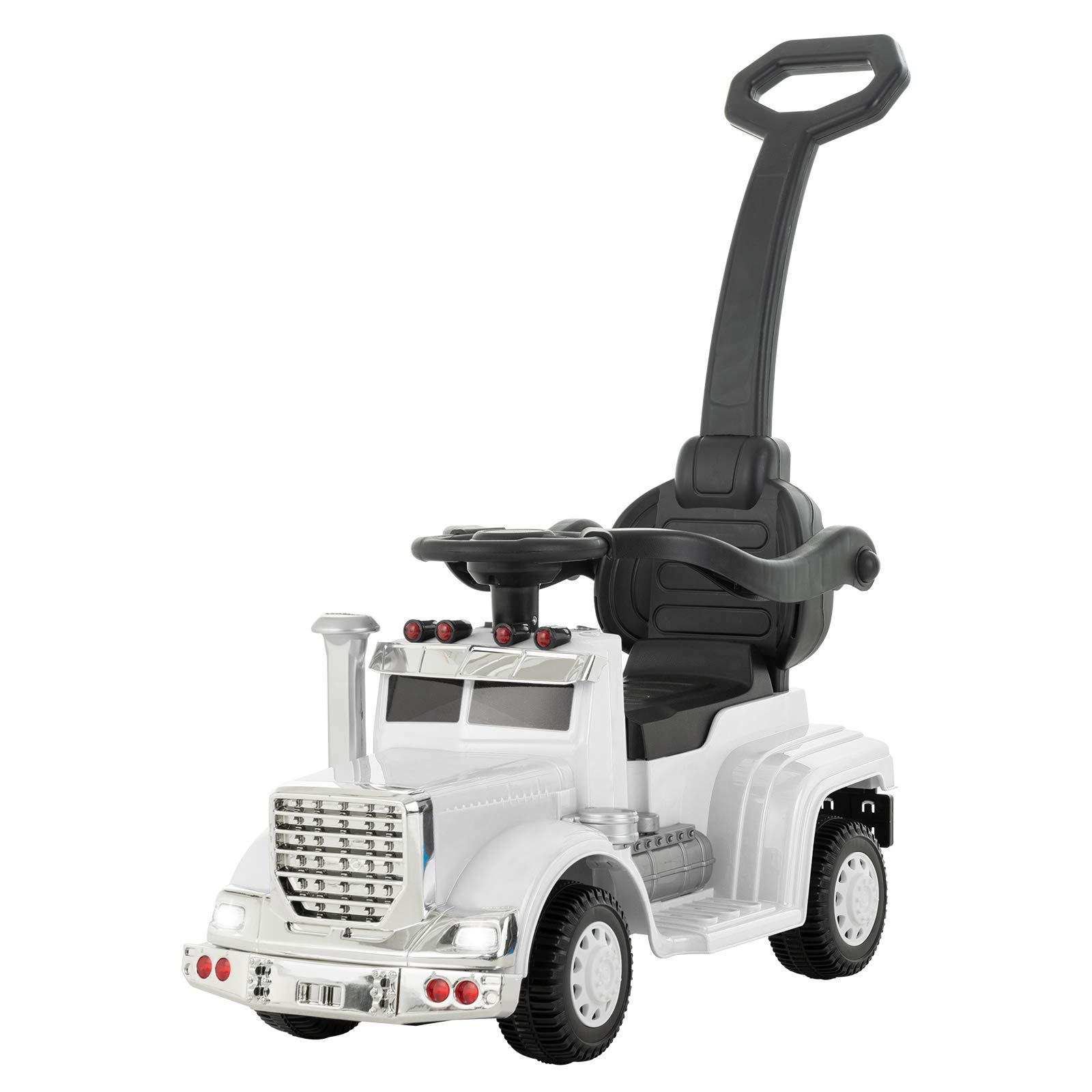 Uenjoy 6V Push Ride on Car 3 in 1 Convertible Baby Toddler Stroller, Battery Powered Kids Electric Vehicles, Parental Handle, Armrest Guardrails, LED Lights, Music, Horn, White