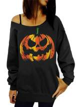 TWKIOUE Women Halloween Pullover Tops Pumpkin Face Slouchy Off Shoulder Sweatshirts