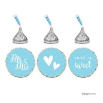 Andaz Press Chocolate Drop Labels Trio, Fits Hershey's Kisses, Wedding Mr. & Mrs, Baby Blue, 216-Pack, for Bridal Shower, Engagement Party Favors, Gifts, Stationery, Envelopes, Decor, Decorations