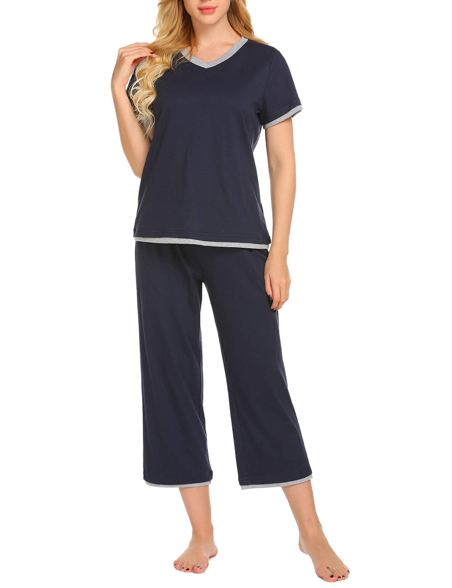 Ekouaer Pajamas Half Sleeve Pajama Set Top with Bottom Pjs V-Neck Sleepwear Soft Loungewear Set S-XXL