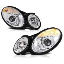 [For 2003-2006 Mercedes-Benz W211 E-Class D2S Xenon HID Model] Chrome Housing Projector Headlight Headlamp Assembly, Driver & Passenger Side