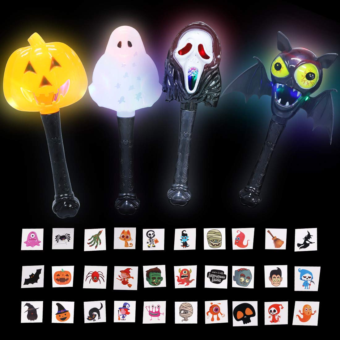 Max Fun Halloween LED Light Up Wands Flashing Magic Glow in The Dark Stick Wand Toy - 4 Pack Novelty Spooky Pumpkin Ghost Bat Witch's Face Wand & 30 Pcs Halloween Tattoos for Kid Party Favor Supplies