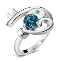 Gem Stone King 925 Sterling Silver London Blue Topaz Gemstone Birthstone Women's Heart Key Ring 0.50 Ct Round (Available 5,6,7,8,9)