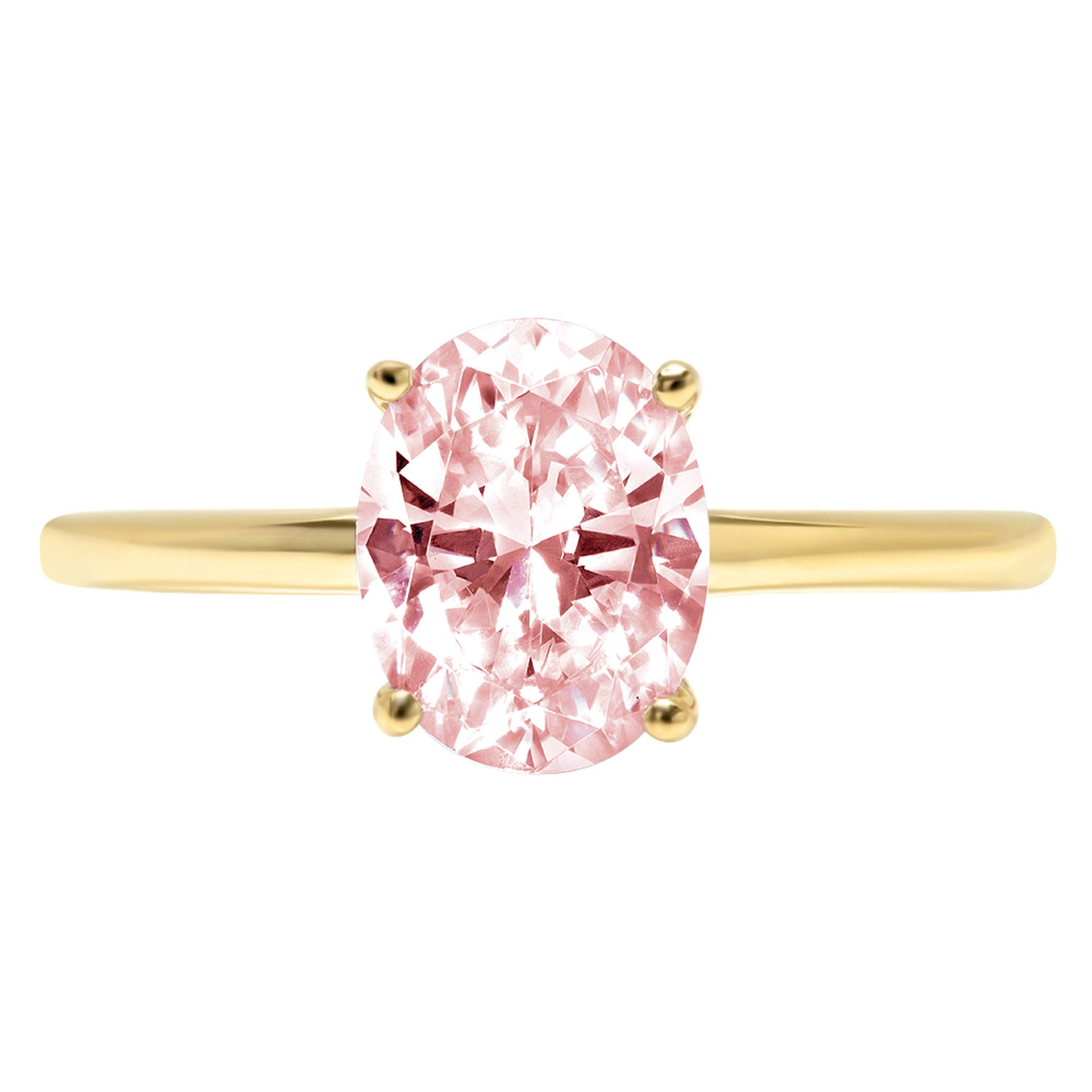 2.5ct Brilliant Oval Cut Solitaire Pink Simulated Diamond CZ Ideal VVS1 D 4-Prong Engagement Wedding Bridal Promise Anniversary Ring Solid Real 14k Yellow Gold for Women