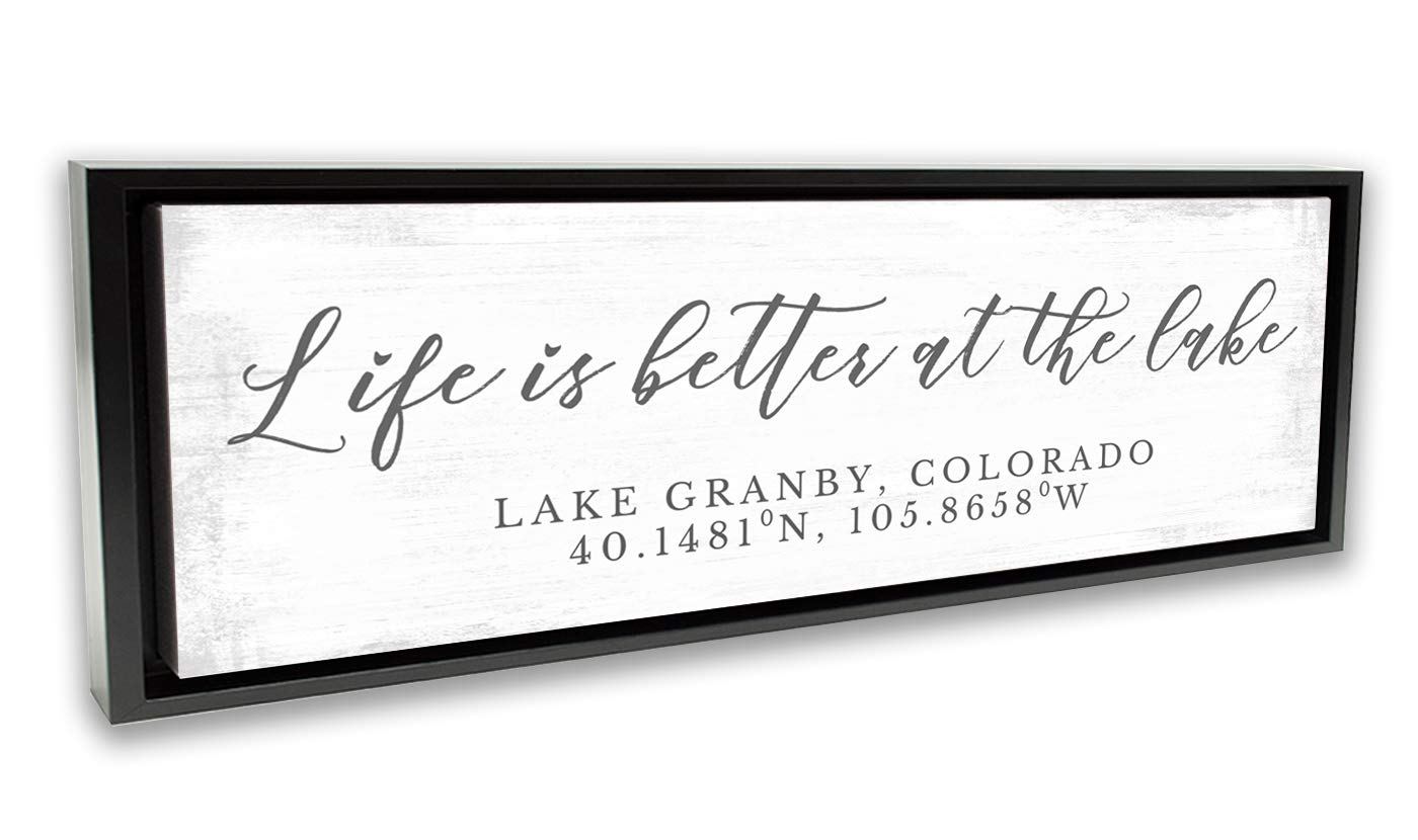 "Pretty Perfect Studio Custom Lake House Sign, Personalized Family Life is Better at The Lake Home Living Room Wall Art Decor on 20"" x 60"" Black Framed, Ready-to-Hang Canvas"