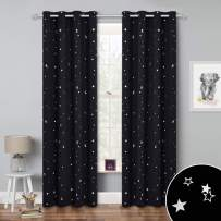 RYB HOME Blackout Curtains for Kids - Christmas Decor Foil Printed Silver Star Curtains Thermal Insulated for Children's Bedroom Living Room, Wide 52 Inch x Long 84 inch, 1 Pair