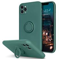BENTOBEN iPhone 11 Pro Max Case, Slim Silicone   Kickstand with 360° Ring Holder   Support Car Mount   Soft Gel Rubber Hybrid Hard Drop Protection Shockproof Bumper Anti-Scratch Cover, Midnight Green