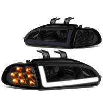 Pair Smoked Housing LED DRL + Turn Signal Headlight Corner Lamp Replacement for Honda Civic Coupe Hatchback 92-95