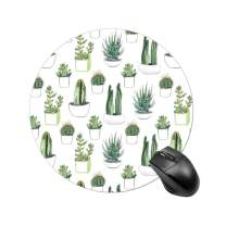 BYBART Mouse Pad, Cute Cactus Round Non-Slip Rubber Mousepad Office Accessories Desk Decor Mouse Pads for Computers Laptop