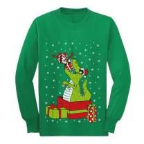 T-Rex Dinosaur Ugly Xmas Party Youth Kids Long Sleeve T-Shirt