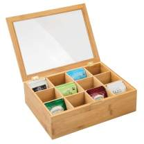 mDesign Bamboo Tea Storage Organizer Box - 12 Divided Sections, Hinged Lid with Easy View Clear Window Top - Decorative Holder for Tea Bags, Packets, Small Items and Accessories - Natural Bamboo/Clear