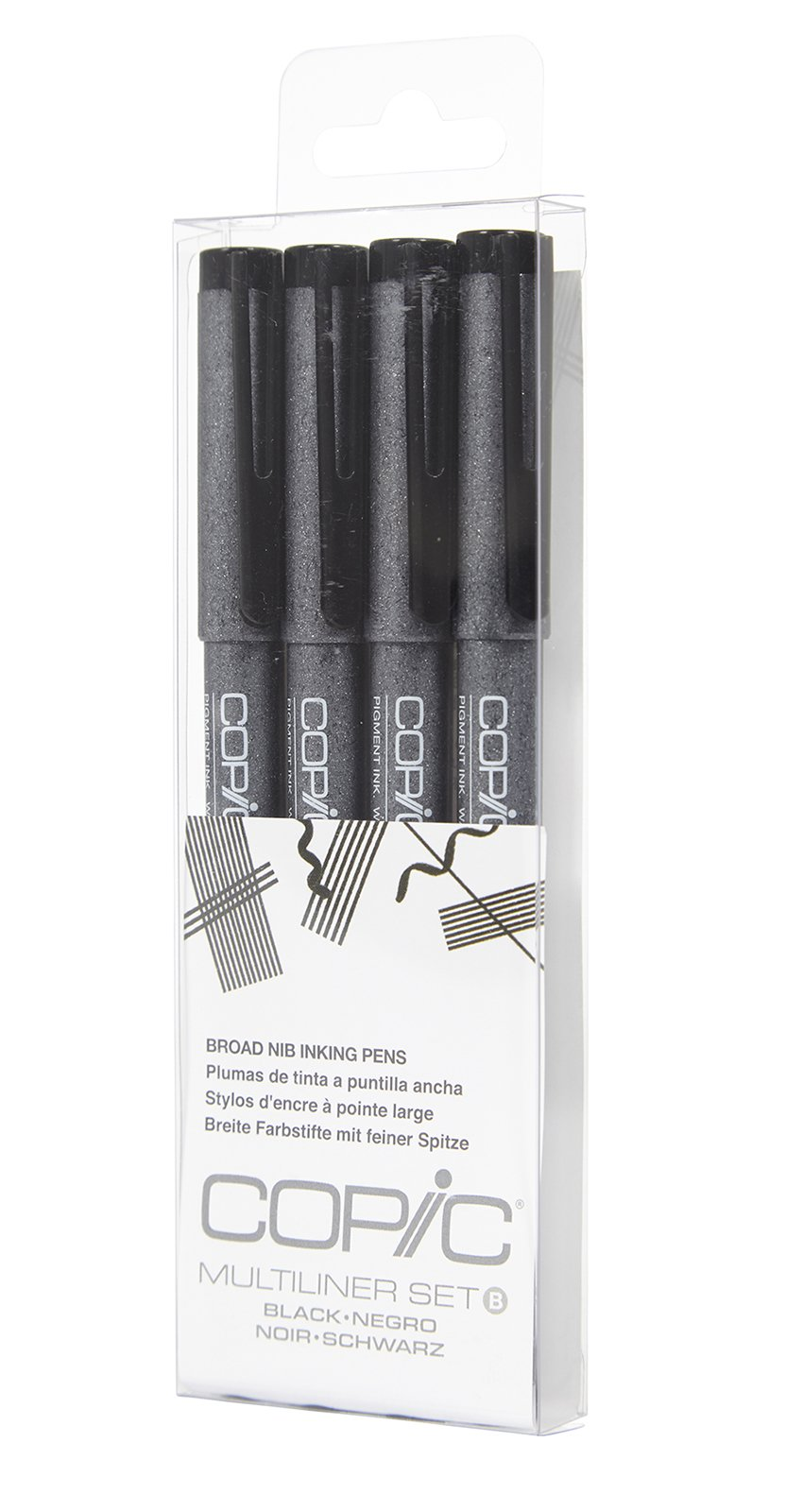 Copic Markers MLBBROAD Multiliner Broad Pigment Based Ink, 4-Piece Set