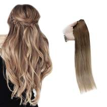 Full Shine 14 Inch Brazilian Hair Halo Extensions Balayage Hair Color 10 Fading to 14 Dark Blonde 70g Per Pack Fish Wire Hair Extensions Real Remy Human Hair Full Head For Women