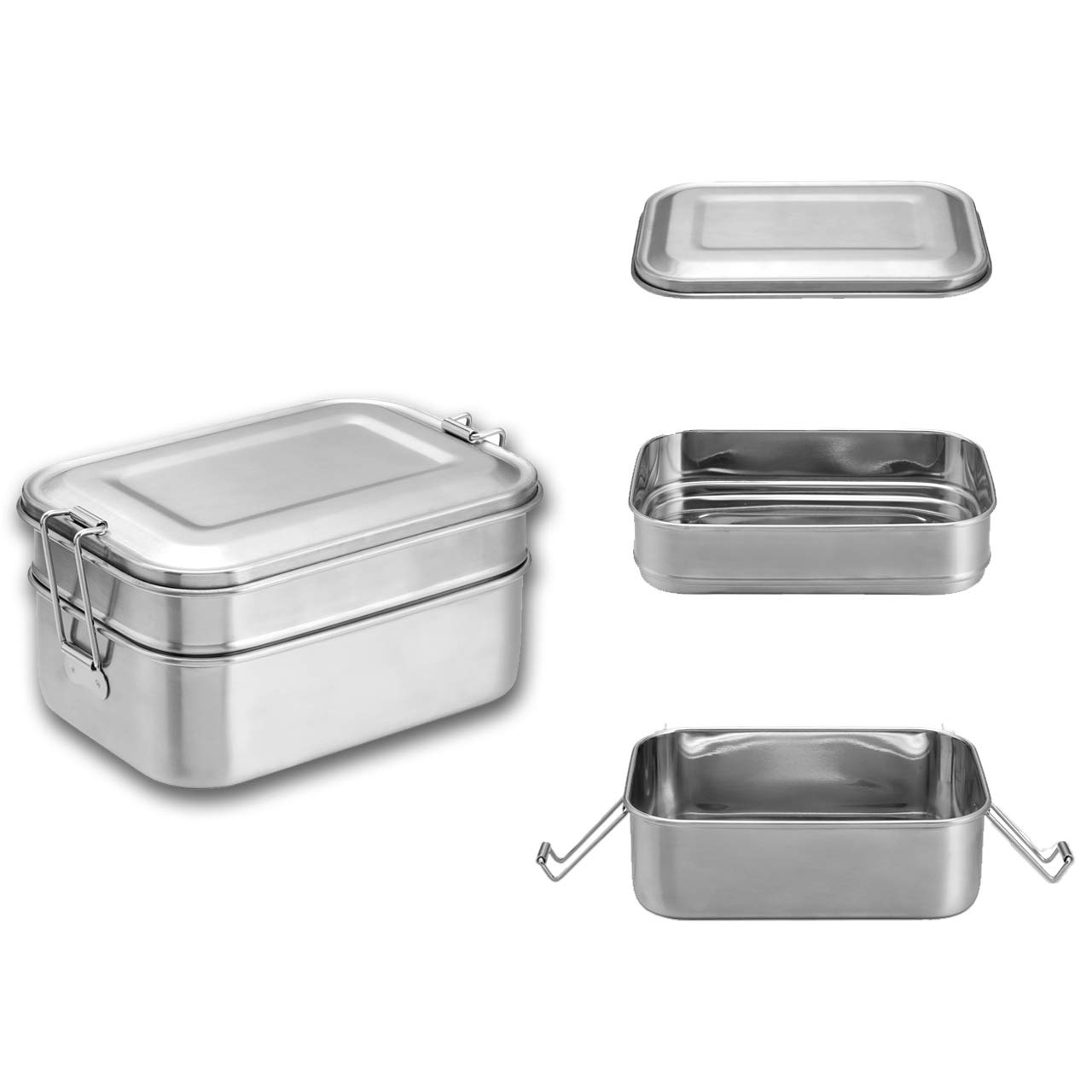 Bento Lunch Box for Kids&Adults, WarmHut Stainless Steel Food Containers, Metal Food Storage Lunch box, Eco Friendly, BPA-Free, for School Office Camping Meal Prep(45OZ/1340ML)
