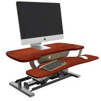 "VersaDesk Power Pro - Electric Height-Adjustable Desk Riser - Sit to Stand Desktop with Keyboard and Mouse Tray (Cherry, 36"" X 24"")"