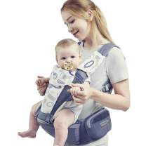 Bebamour Baby Carrier for Summer Soft Breathable Mesh Hip Seat (Ergonomic M Position) for 0-36 Month Baby 6-in-1 Ways to Carry Lightweight for Hiking Shopping Travelling(Blue)