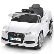 Costzon Ride On Car, Licensed Audi A3 12V Battery Powered Ride-On Vehicle, Manual/Parental Remote Control Modes with Headlights, MP3, Music, High/Low Speeds, 2WD (White)