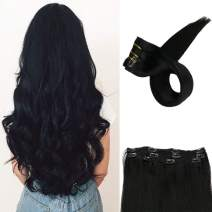Full Shine 18 inch Color #1 Jet Black Clip Hair Extensions Full Head Lace Clip in with 3 Separate Pieces Silky Straight 100% Real Remy Human Hair Extensions 100g Per Pack