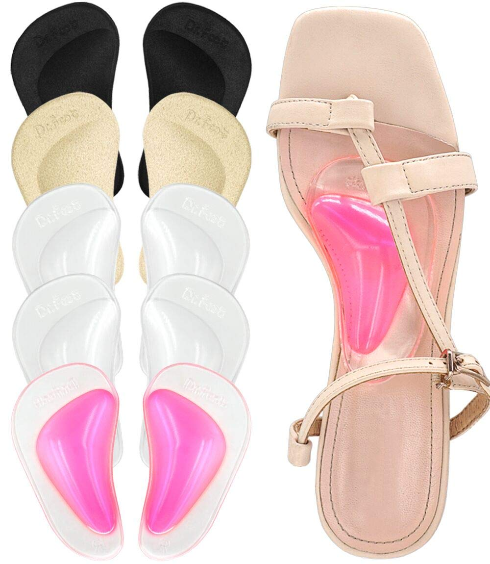 Dr. Foot Plantar Fasciitis Arch Support Shoe Insoles 5 Pairs, Thicken Gel Arch Pads for Flat Feet - Self-Adhesive Arch Cushions Inserts for Men and Women (Clear*2+Black+Beige+Pink)