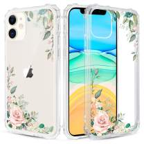 Caka Flower Clear Case for iPhone 11 Floral Clear Flower Floral Pattern Design for Girls Women Girly Cute Slim Soft TPU Transparent Shockproof Protective Case for iPhone 11 (Light Green)