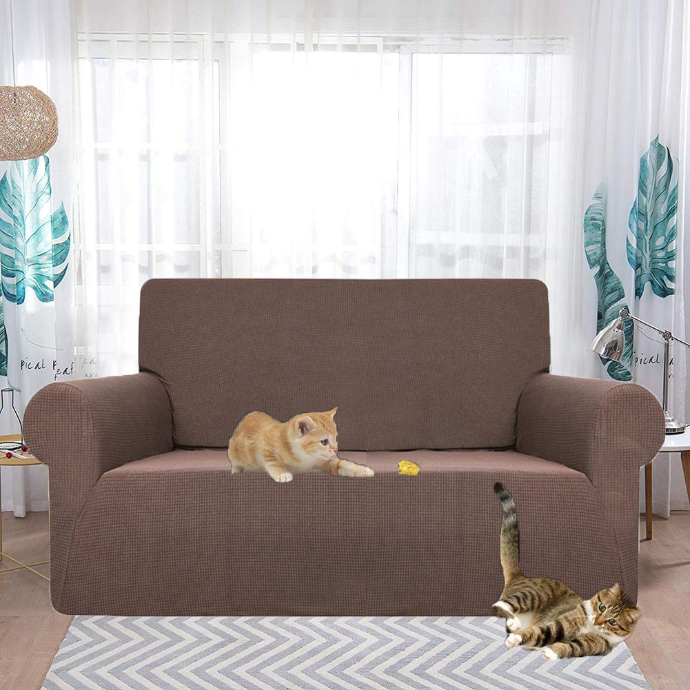 HEBE Stretch Slipcover for 2 Cushions Loveseat Water Repellent 1-Piece Sofa Couch Cover Love Seat Throw Covers for Living Room Dog Cat Pet Kid Proof Furniture Protector