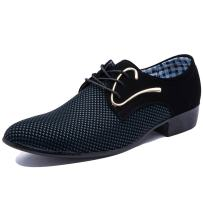Blivener Men's Pointed Toe Suede Leather Dress Shoes Casual Oxford New