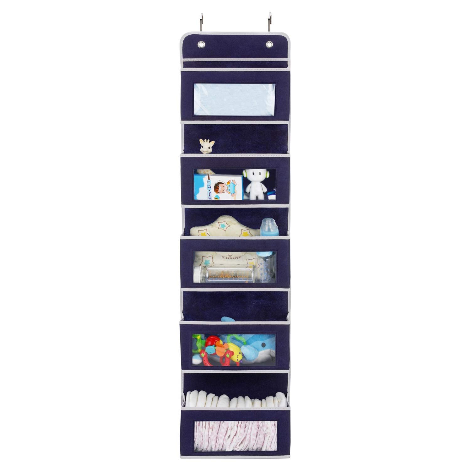Magicfly Over The Door Storage with 5 Large Clear Window Pocket, Wall Hanging Storage Organizer for Pantry Baby Nursery Bathroom Closet Dorm, Dark Blue