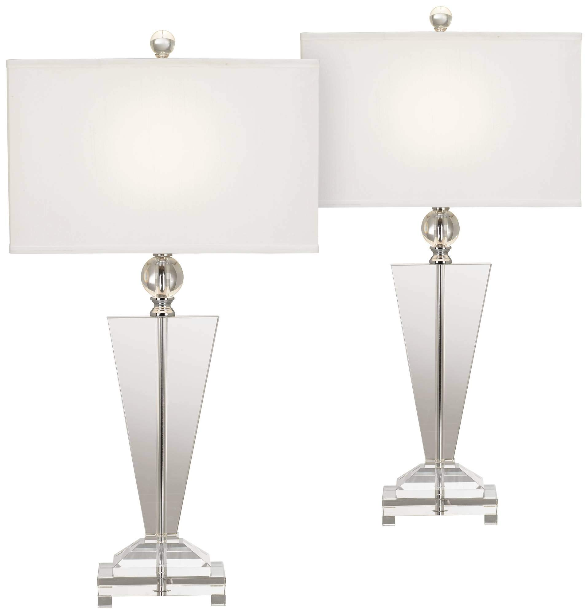 Modern Table Lamps Set of 2 Art Deco Crystal Trophy Off White Rectangular Shade for Living Room Bedroom - Vienna Full Spectrum